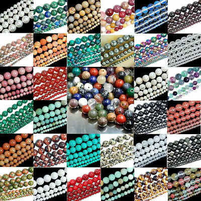 Natural Gemstone Bulk Round Spacer Loose Beads 4mm 6mm 8mm 10mm Crafts Jewelry