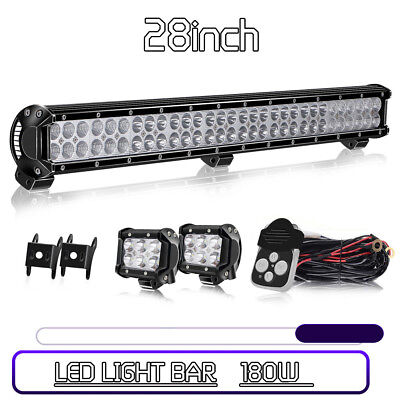 "28inch 180W+2x18W 4"" CREE LED Light Bar COMBO Work Driving Lamp Offroad UTV 4WD"