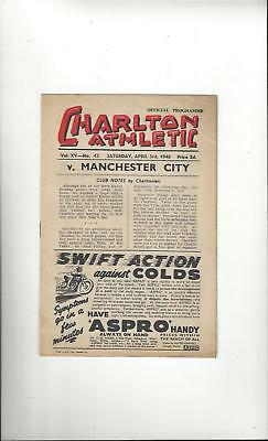Charlton Athletic v Manchester City Football Programme 1947/48