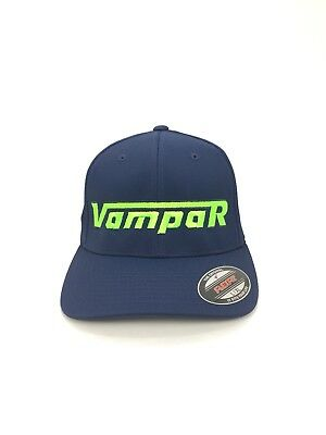 Vampar Clothing Co Rambler Logo Flex Fit Hat S/M Navy/ Lime Skate Surf Snow