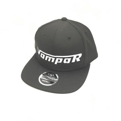 Vampar Clothing Co Rambler Logo Flat Bill Hat Black/ Silver Skate Surf Snow