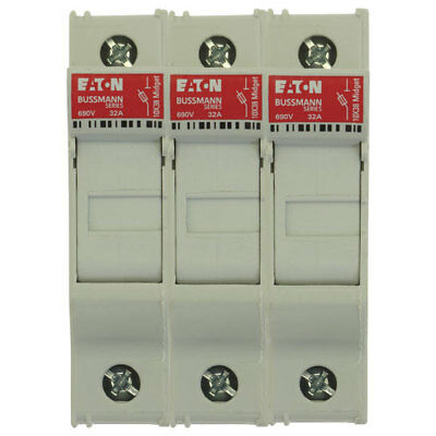 Bussmann CHM3DU 3Pole 30A 600V IP20 Finger Safe DIN-Rail Fuse Holder