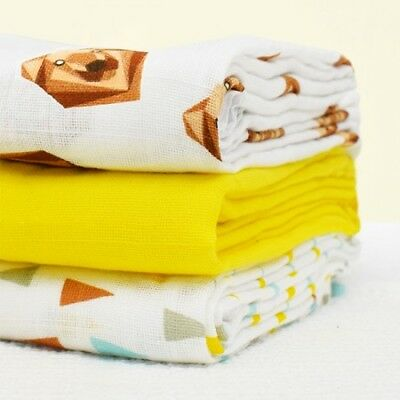 Bambino Mio Cotton Muslin Squares- 3 Pack | Gift Pack of Baby Muslins