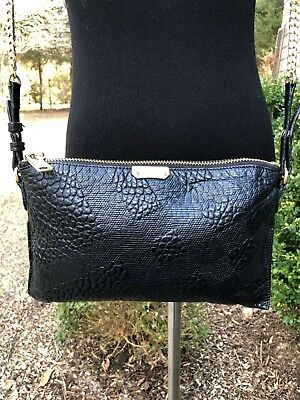 db4556a6ea7 BURBERRY Black Peyton Embossed Check Leather Clutch Crossbody Bag EXC