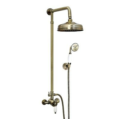 ENKI Shower Set Brass Thermostatic Sequential Antique Bronze Traditional Large