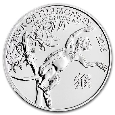 British Royal Mint Great Britain UK £2 Lunar Monkey 2016 1 oz .999 Silver Coin