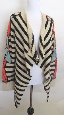 English Rose Cream Black color Striped Brids Long Sleeve Knit Sweater Size  M L b7e594a39