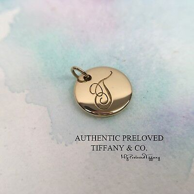 Authentic Tiffany & Co. Notes Alphabet Letter T Yellow Gold Disc Charm Pendant