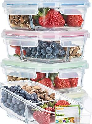 5 pack Glass Meal Prep Lunch Containers 3 Compartment Bento Box Sauce Cups Label