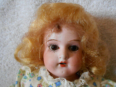 13 inch German Mabelle ? Bisque Head Doll Open Mouth Teeth Hinge Jointed Body