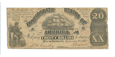 Civil War Confederate Currency T-18 $20 Note - September 2, 1861 - CSA