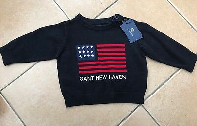 BNWTs Gant Baby Navy Blue New Haven Stars And Stripes Jumper Age 3 Months
