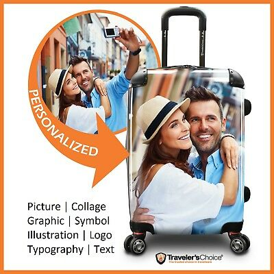 """Traveler's Choice 22"""" Carry-on Customized Printing Expandable Spinner Suitcase"""