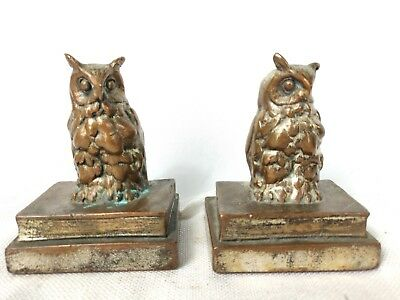 """Pair of 5"""" tall Owl BookEnds Brass or other Metal with Patina"""