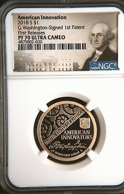 2018-S American Innovation Dollar NGC PF70UC First Releases Washington Patent