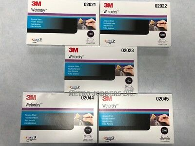 """3M 1000 1200 1500 2000 2500 Grit Wet or Dry Sandpaper 5.5""""x 9"""" 5 Boxes Total"""