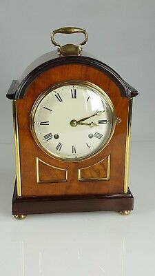 French Maple/Walnut Brass inlaid striking bracket clock