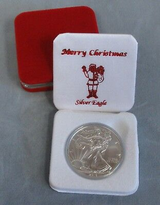 UNC 2019 Silver Eagle in Merry Christmas Standing Santa Red Gift Box
