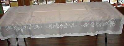 "Vintage Madeira White Organdy Linen Tablecloth - 70"" x 49"", Hand Embroidered"