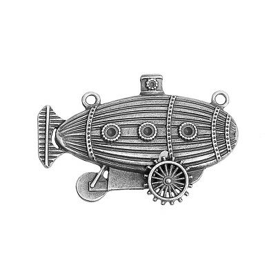 LARGE ANTIQUE SILVER STEAMPUNK AIRSHIP CONNECTOR/PENDANT~Cogs~Gears~Chain  (86J)