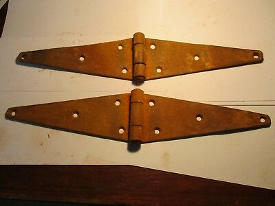 "Vintage Steel Strap Hinges 2 Large Barn Gate Door 16"" Antique"