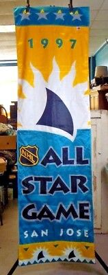 "SAN JOSE SHARKS - 1997 NHL ALL STAR GAME IN SAN JOSE, CA. - 8 FOOT x 29""  BANNER"