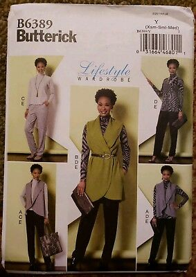 78418ae640a Butterick Sewing Pattern 6389 Misses Sleeve Top Tunic Shawl Vest Pants  Xsm-Med