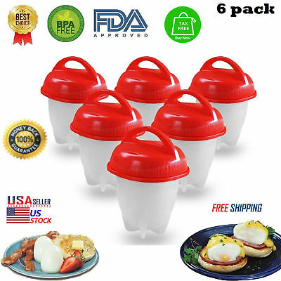 6Pcs Silicone Egglettes Egg Cooker Hard Boiled Eggs without the Shell Egg Cup T3