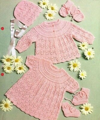 f53c6c93f BABY KNITTING PATTERN Vintage Copy babies lacy shawl matinee jacket ...
