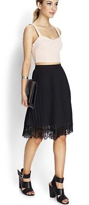 Skirts 100% Quality Forever 21 Womens Medium Sheer Black Pleated Lace Eyelet Trim Skirt Work K1