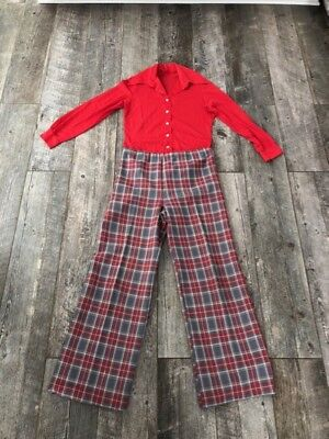 VTG 70s Red Plaid Bell Bottom Disco Hippie Pants Shirt Set Leisuresuit Jumpsuit