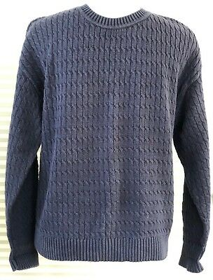 Brooks Brothers Cable knit Crew neck Grandpa Sweater Size Medium navy cotton 608984a61