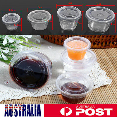 50x Plastic Disposable Sauce Cup Salad Dressing Food Storage Containers + Lids
