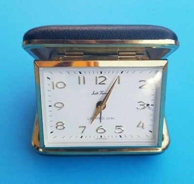 Vintage - Seth Thomas Lighted Dial Alarm Travel Clock -  Made In Germany