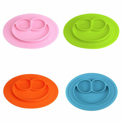 Silicone Bowl Mat Round Smiley Suction Feeding Dinner Plate With 3 Compartments