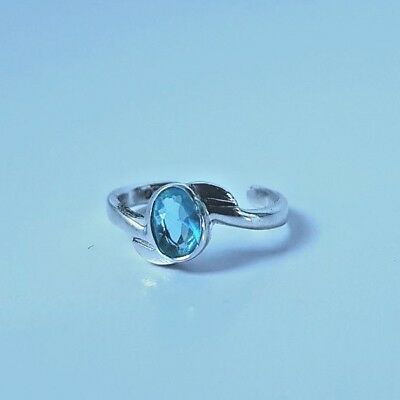 925 Sterling Silver and Blue Topaz Toe Ring | Pinky Ring | Adjustable | Boho