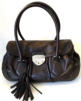 47280ddaf1140 Prada Tasche Handtasche Braun Silber Nappa Leder Tote Bag Brown Leather  Medium M