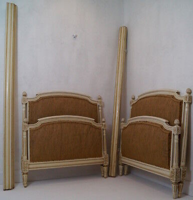 Very Rare Pair of French Antique Louis XVI Single Beds inc. Reupholstery