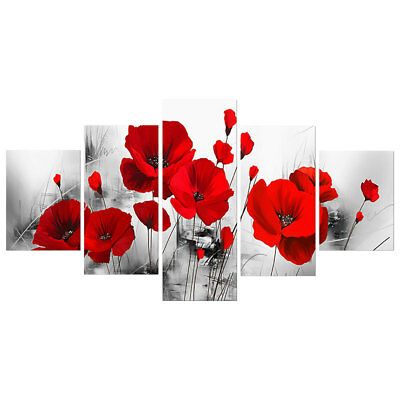 5Pcs/Set Red Poppy Floral Art Oil Painting Picture Wall Home Room Decoration