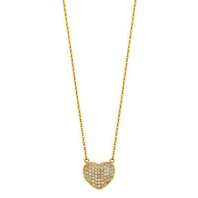 14K Solid Yellow Gold Paved Puffed Heart with Diamonds Pendant Necklace Chain