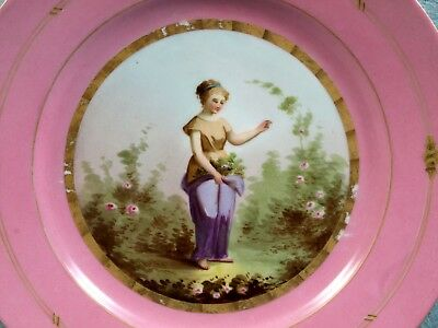 Sevres Porcelain Girl Cabinet Plate ANTIQUE c. 1820 French Hand Painted Pink