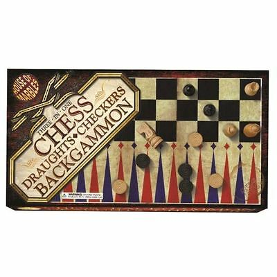 House of Marbels 3 in 1 Chess Draughts Backgammon Checkers Wooden Games Set New
