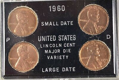 1960 P&D Large and Small Date UnCirc. (BU) Lincoln Cent Variety Set in case-2363