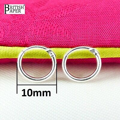 10mm Small Solid 925 Sterling Silver Hoop Sleeper Earrings Nose Rings Studs Clip