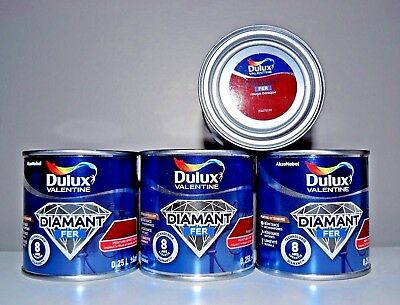 "Lot Peinture Fer "" Rouge basque "" Dulux Valentine 4 X 0,25 L"