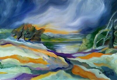 """ONDULATED HILLS  oil on canvas 12X18"""" a painting full of color and motion. Sale!"""