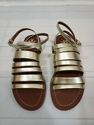 4680811f2eb6 New Tory Burch Patos Strappy Ankle Strap Leather Sandals Metallic Gold US 6