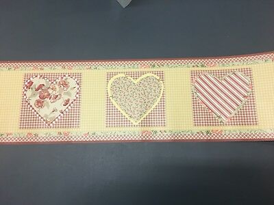 Pocket Full of Posies WALL BORDER heart brick red sage green gold plaid gingham