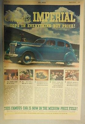 Chrysler Car Ad: New Chrysler Imperial ! From 1937 Size: 11 x 15 Inches