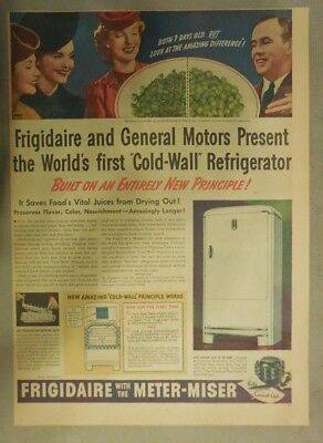 Frigidaire Refrigerator Ad: Worlds First Cold Wall Refrigerator! from 1939